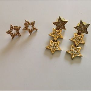 Jewelry - 2 pairs of gold star earrings